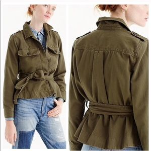 JCREW army button up with peplum and tie